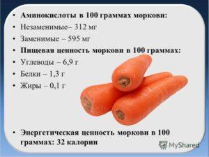 Морковь калорийность на 100 грамм сырой и польза и вред